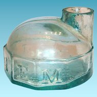 J & IEM 1860's Aqua Colored Glass Turtle Shaped Ink Bottle