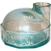 J & IEM 1860's Aqua Colored Glass Turtle Shaped Ink Bottle