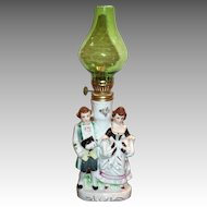 Colonial Couple Porcelain Figurine Miniature Hurricane Lamp