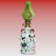 Colonial Couple Porcelain Figurine Miniature Hurricane Lamp