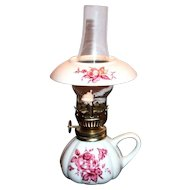 Hand Painted Floral Design On White Porcelain Miniature Lamp