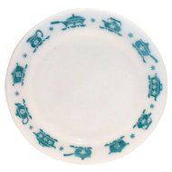 Hazel Atlas 1950's Turquoise on White Kitchen Aids Dinner Plate