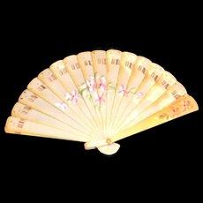 Vintage Miniature Hand Painted Floral Design Celluloid Fan