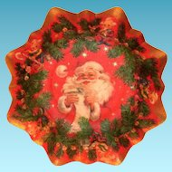 Vintage Christmas Card Santa Claus & Elves Cardboard Tray/Bowl
