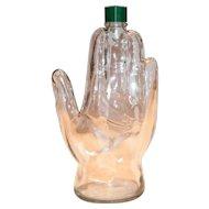 1970's Mennen's Glass Hand Shaped Cologne Bottle For Men