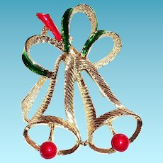 Vintage Gerry's Christmas Double Bell Pin or Brooch