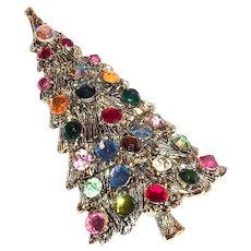 Lovely Multicolored Rhinestone Christmas Tree Pin