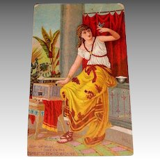 Old Domestic Sewing Machine Trade Card