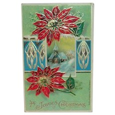 A Joyous Christmas Postcard (Church Scene & Poinsettias)