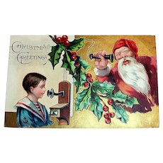Santa Claus: Christmas Greetings Postcard (Santa On Phone With Little Boy)