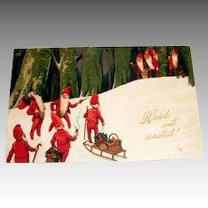 Haad uut aastat! Swedish Christmas Elves Postcard - 1929
