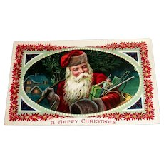 Santa Claus: A Happy Christmas Postcard (Santa Delivering Toys)-Barton Spooner