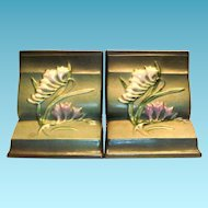 """Roseville """"Freesia"""" Green Bookends"""