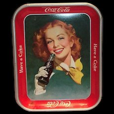 Coca Cola Red Haired Woman In Yellow Scarf 1950's Metal Serving Tray