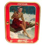 Coca Cola 1941 Skater Girl Sitting On Log Metal Serving Tray
