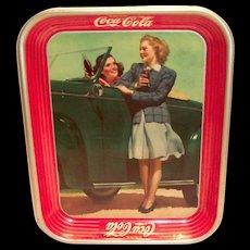 Coca Cola Two Ladies By The Car 1942 Metal Serving Tray