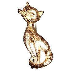Monet Gold Tone Retro Cat Design Pin