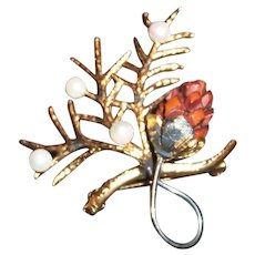 Wells Sterling Silver & Gold Wash Branch Pin With Wooden Carved Pine Cone