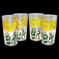 Jeanette Glass Co. Floral Design Peanut Butter Glass
