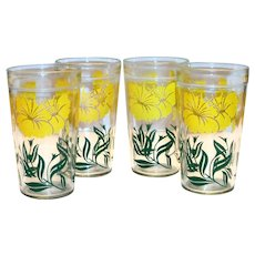 Jeanette Glass Co. Floral Design Peanut Butter Glass