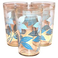 Vintage White Poinsettia With Blue Leaves Peanut Butter Glass