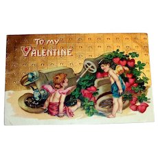To My Valentine Postcard (Cupids Arguing Over Broken Jalopy)