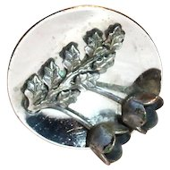 Vintage Raised Tulips & Leaves Silver Tone Metal Button