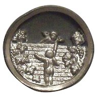 Vintage Cupids On A Brick Wall Design Button