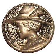 Vintage Lady With Hat Design Smaller Silver Tone Metal Button