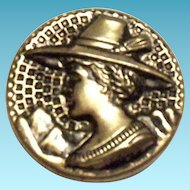 Vintage Lady With Hat Design Silver Tone Metal Button