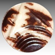 Vintage Celluloid Brown & Off-White Hounds Tooth Design Button