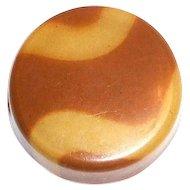 Vintage Butterscotch & Tan Wavy Striped Celluloid Button