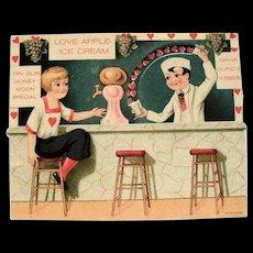 Love Apple-Ice Cream (Soda Fountain) Mechanical Valentine