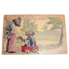 It Was A Touching Scene Postcard (Bear In Wagon Begging)