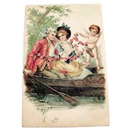 Renaissance Couple & Cupid Valentine Postcard