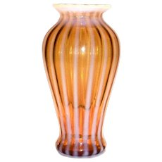 Amber & White Opalescent Striped Glass Vase