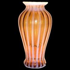 Amber & White Opalescent Striped Glass Vase