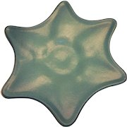 Van Briggle Bluish Green Star Shaped Footed Or Raised Pottery Plate - 1960's