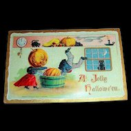 A Jolly Hallowe'en Vintage Postcard by B Holfmann - 1909