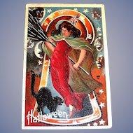 Hallowe'en Postcard (Sexy Looking Witch & Black Cat) - 1911