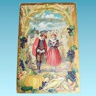 Thanksgiving - Pilgrim Couple Giving Thanks Among Their Bountiful Crops Postcard - 1909