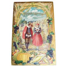 Thanksgiving - Pilgrim Couple Giving Thanks Among Their Bountiful Crops Postcard - 1909