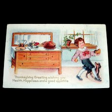 Whitney: Thanksgiving Greeting Postcard (Boy Sneaking Food Away From The Side Board)