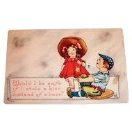 Would I Be Safe If I Stole A Kiss Instead Of A Base? Valentine Postcard