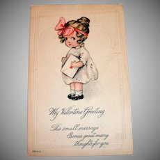 My Valentine Greeting Postcard (Cute Little Girl Holding Envelope)