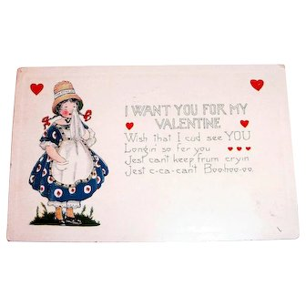 Whitney: I Want You For My Valentine Postcard - 1926
