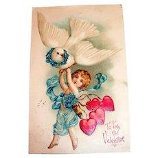 To My Valentine Postcard (Cupid & Dove)
