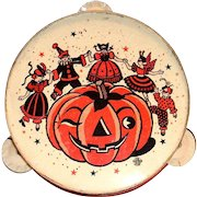 U.S. Toy Mfg. Co. Metal Halloween Tambourine Noise Maker - 1950's