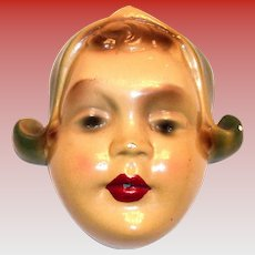 Vintage Dutch Girl Head Chalkware Wall String Holder