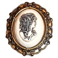 Raised Roman Ladies Head Glass Cameo Pin/Pendant In A Brass Frame
